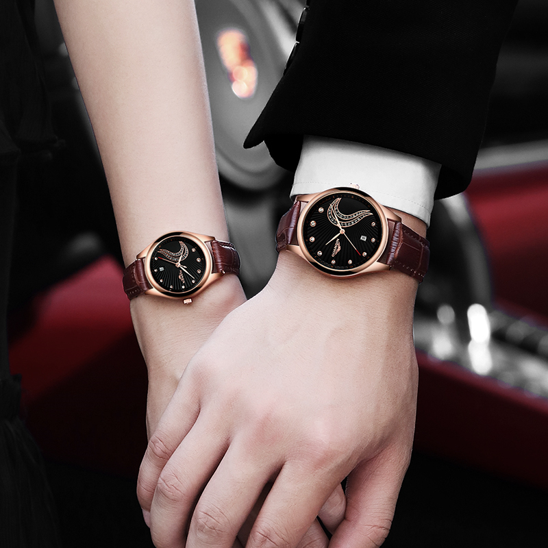 Fashion Couple GUANQIN Watches Popular Casual Quartz Women Men Watch Lover's Gift Clock Boys Girls Wristwatch xinge fashion brand popular watch women believe in yourself bracelet crystal wristwatch set girls gift clock women 2018 watches