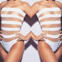 2017 New Sexy Swimwear Women One Piece Swimsuit White Hollow Out Striped Sexy Padded Bikini Bathing Suit Monokini Bikink Set
