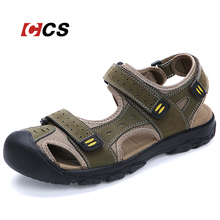 Good Quality Daily Life Men's Sandal Walking Summer Cool Slippers Soft Comfortable Genuine Leather Beach Shoes Large Size 11 CCS