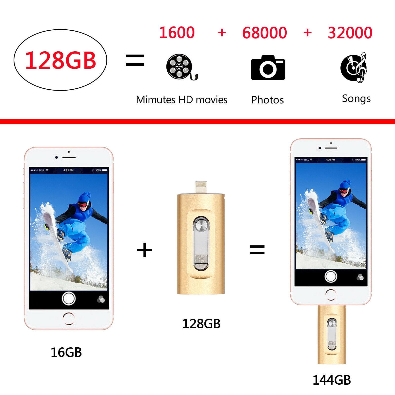 OTG USB Flash Drive USB Flash 3.0 For IPhone/iPad/IOS/Android/PC 256GB 128GB 64GB 32GB 16GB Pen Drive 3 In 1 High Speed Pendrive