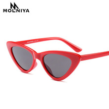 MOLNIYA cute sexy retro cat eye sunglasses women small black white 2018 triangle vintage cheap sun glasses red female uv400