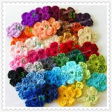 100 шт./партия, цветные Хлопковые вязаные крючком цветы, как аппликация для одежды, материал для рукоделия, вязаные цветы ручной работы