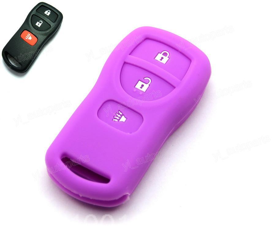 Purple Silicone Case Cover Fit For Nissan Armada Versa Titan Frontier Xterra Quest Pathfinder Quest Remote Key 3 Buttons