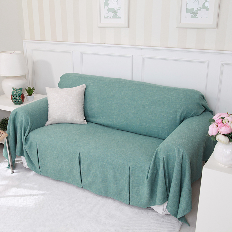 Single/Two/Three/Four Seater Solid Sofa Cover Cotton Slip Resistant