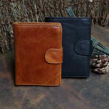 New mens wallets, leather, short 80% discount wallet, vertical Kraft leather wax bag, 2018