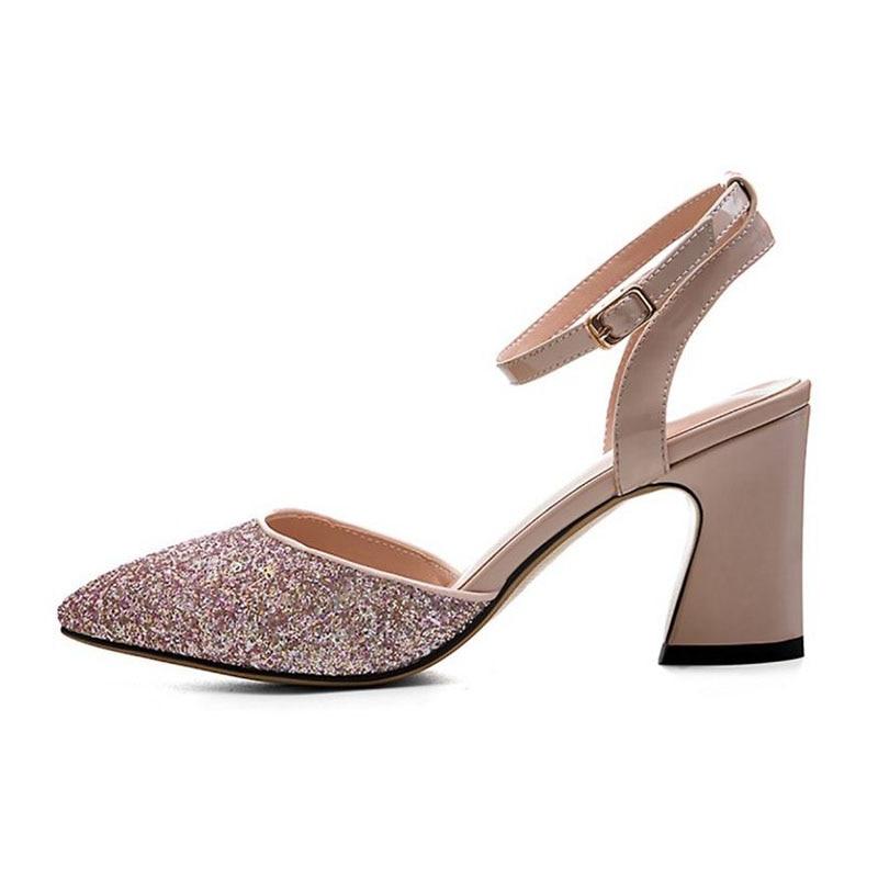 Bling Adornado Calzado Del Mujeres Cuero 34 Real Vestido Sandalias Pie rosado Punta Misakinsa Negro Mujer Dedo 39 Tobillo Correa Zapatos Tacón Tamaño De Alto OdUxXwPq