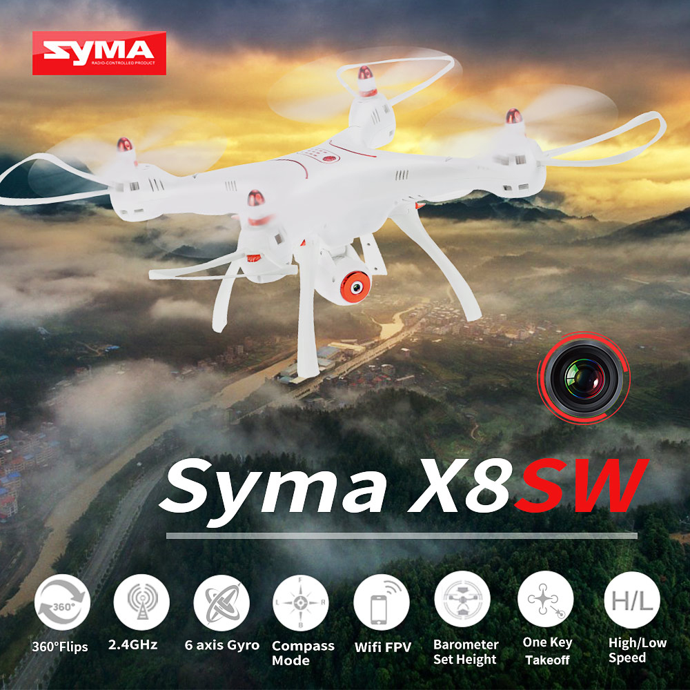 Syma X8SW Wifi FPV 720P HD Camera Drone 2.4G 4CH 6-Axis RC Quadcopter with Barometer Set Height RTF