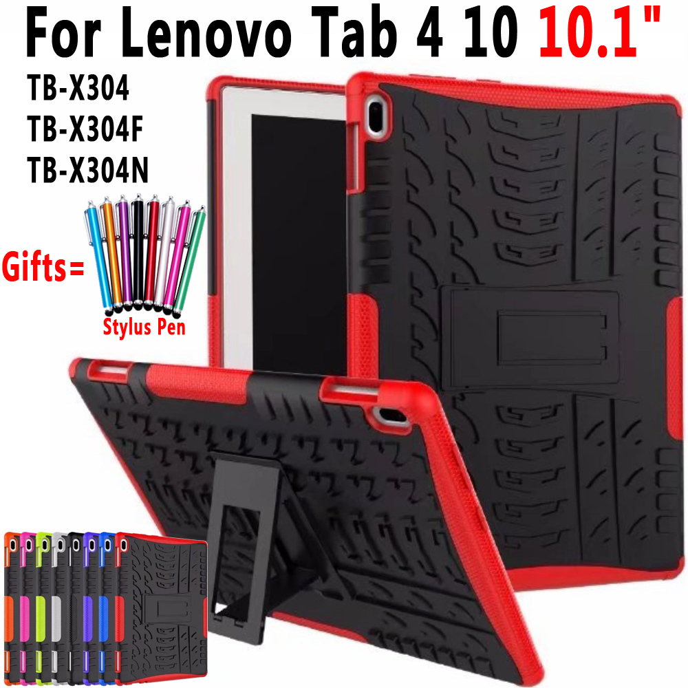 Case for Lenovo Tab <font><b>4</b></font> <font><b>10</b></font> <font><b>10</b></font>.<font><b>1</b></font> inch TB-X304 TB-X304F TB-X304N Cover Heavy Duty 2 in <font><b>1</b></font> Hybrid Silicon TPU + PC Coque Capa Funda image