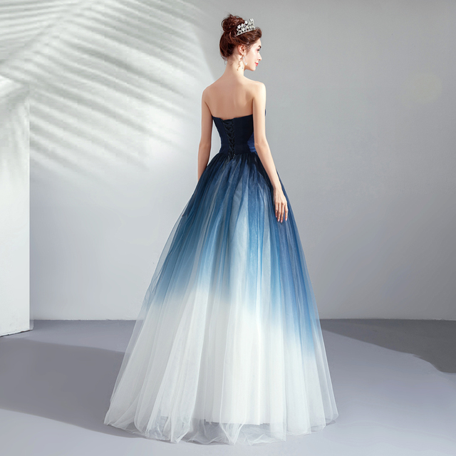 Walk Beside You Navy Blue White Evening Dresses Contrast Color A-line Tulle Strapless V-neck Long Floor Length Formal Prom Gowns 1