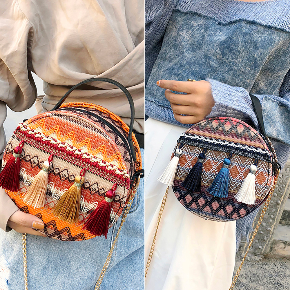 Women Tassel Chain Small Bags national wind round bag packet Lady Fashion Round Shoulder Bag Bolsos Mujer#A02 79