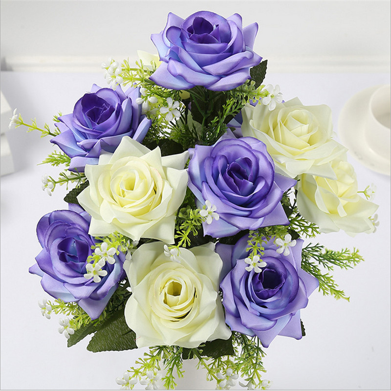 12 Heads Artificial Roses Bouquet Party Supplies Silk Fake Flowers Wedding Party DIY Home Decoration New Fashion Romantic