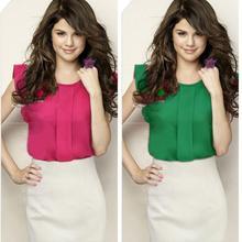 Tops Chic Womens Chiffon Shirt OL Round Collar Short Ruffle Sleeve Solid Blouse