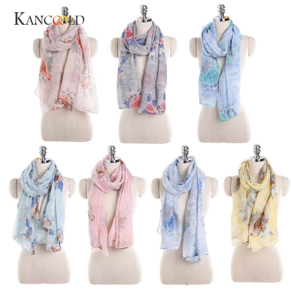 KANCOOLD socks women's fashion Women Ladies standard Flowers Print Pattern Lace Long   Scarf   Warm   Wrap   Shawl PFEB23