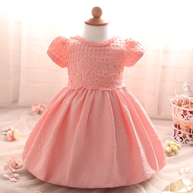 Baby Girl Dress Baby 1 Year Birthday Party Dress Lace Christening Gown Baptism Dress Infant Floral Bow Princess Dress