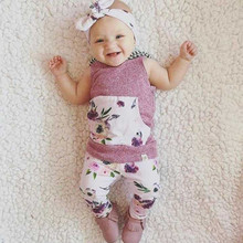 2017 New Hot Selling Newborn Infant Baby Girls Sleeveless Hoodies Top Floral Pants with Headband Outfits
