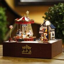 Rotating Wooden Horse Music Box The Music Box Diy Hut Manual Originality Male Girl Student Birthday Gift
