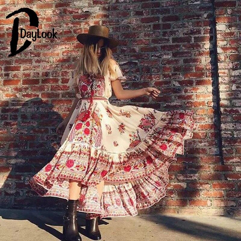 DayLook Vestido Hombro Elegante Floral de La Vendimia Del Estilo de Bohemia Del