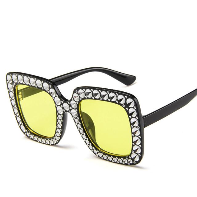 RILIXES Sunglasses -Women Square Oversized Sunglasses Women Imitating drill Sun Glasses Lady Brand Designer Vintage Shades Gafas