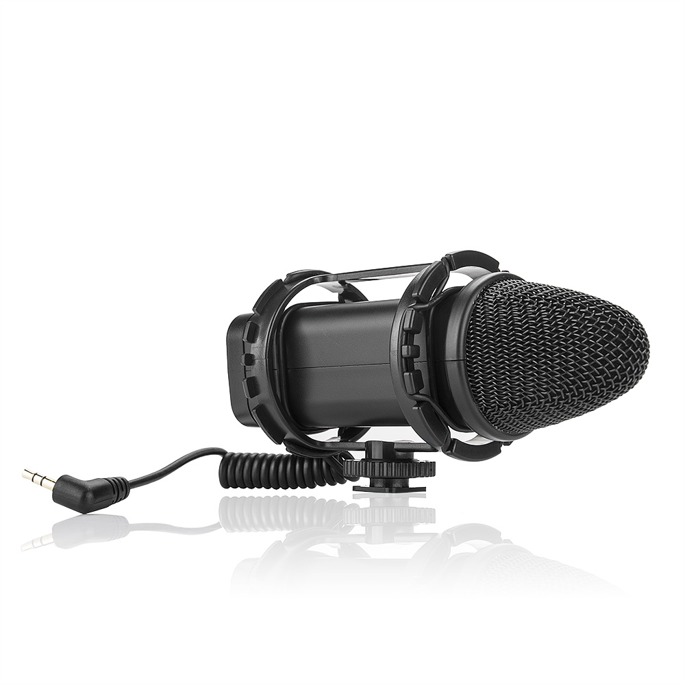 BOYA BY-V02 Stereo Audio Condenser Microphone with Windshield for Canon Nikon DSLR Video Shooting 350302514W boya by vm300ps broadcast high quality stereo video condenser microphone for canon nikon dslr camera video