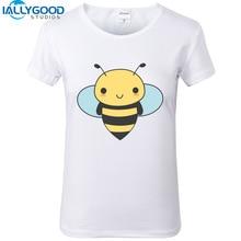 New Summer Kawaii Bee T-Shirts Women Cute Cartoon Harajuku Novelty Animal Print White T-shirts Slim Casual Women Tops S1078