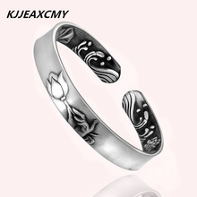 KJJEAXCMY 999 fine silver jewelry ethnic lotus Guanyin Handmade Bracelet lady hand drawing uglyless real 999 silver fine jewelry women simple fashion thick bangles ethnic fish open bangle handmade engraved lotus bijoux