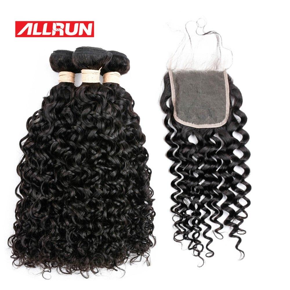 Allrun вьетнамский 3bundles волна воды с 4*4 закрытия шнурка не Волосы Remy расширения 100% человеческих волос Ткань натуральный цвет