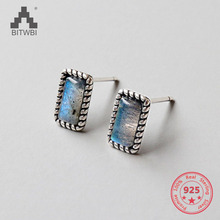 925 Silver Stud Earrings for Women Jewelry Natural Moonstone New Simple Pure 100% S925 Sterling Silver Rectangle Earring