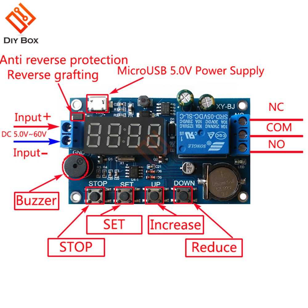 DC 5V Real time Timing Delay Timer Relay Module Switch Control Clock Dc Reversing Relay Wiring Diagram With Timer on