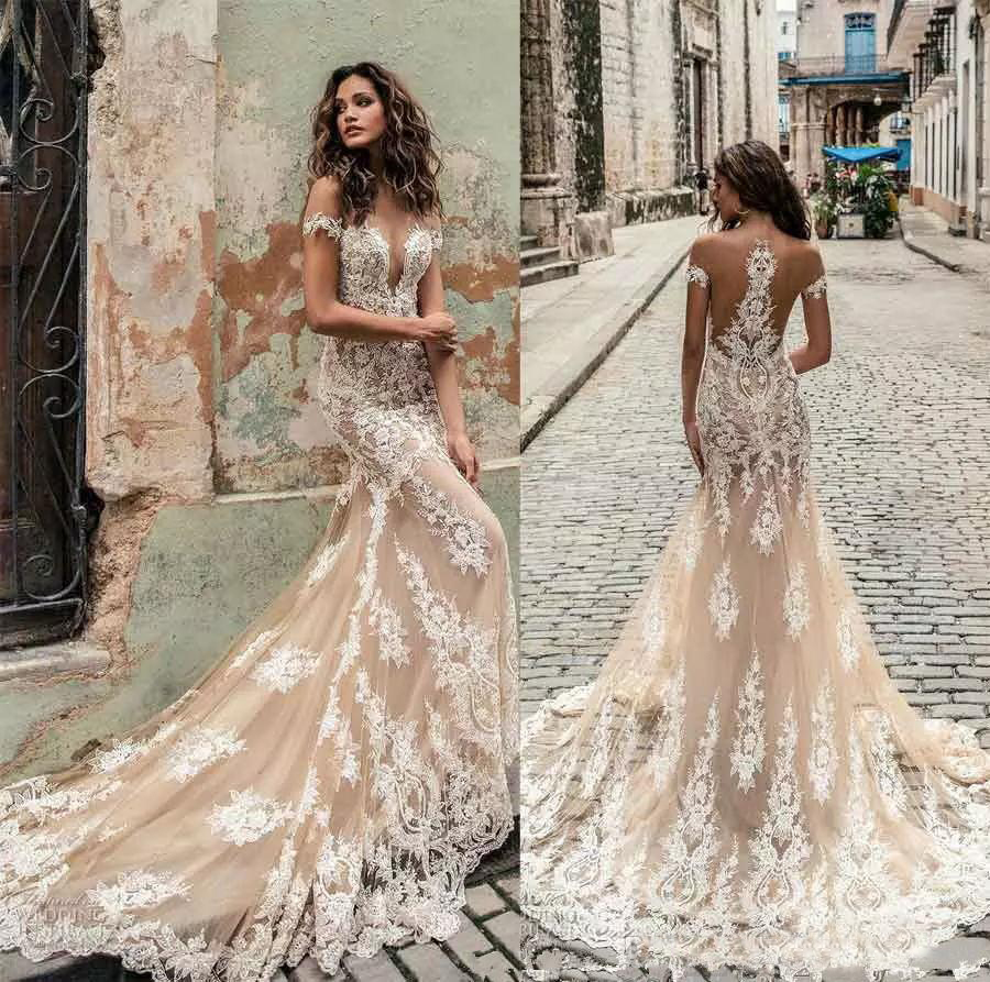 ef4c3c5461c4 Robe de mariee Julie Vino Lace Champagne Mermaid Wedding Dresses 2019 Sexy  Off Shoulder Deep Neck