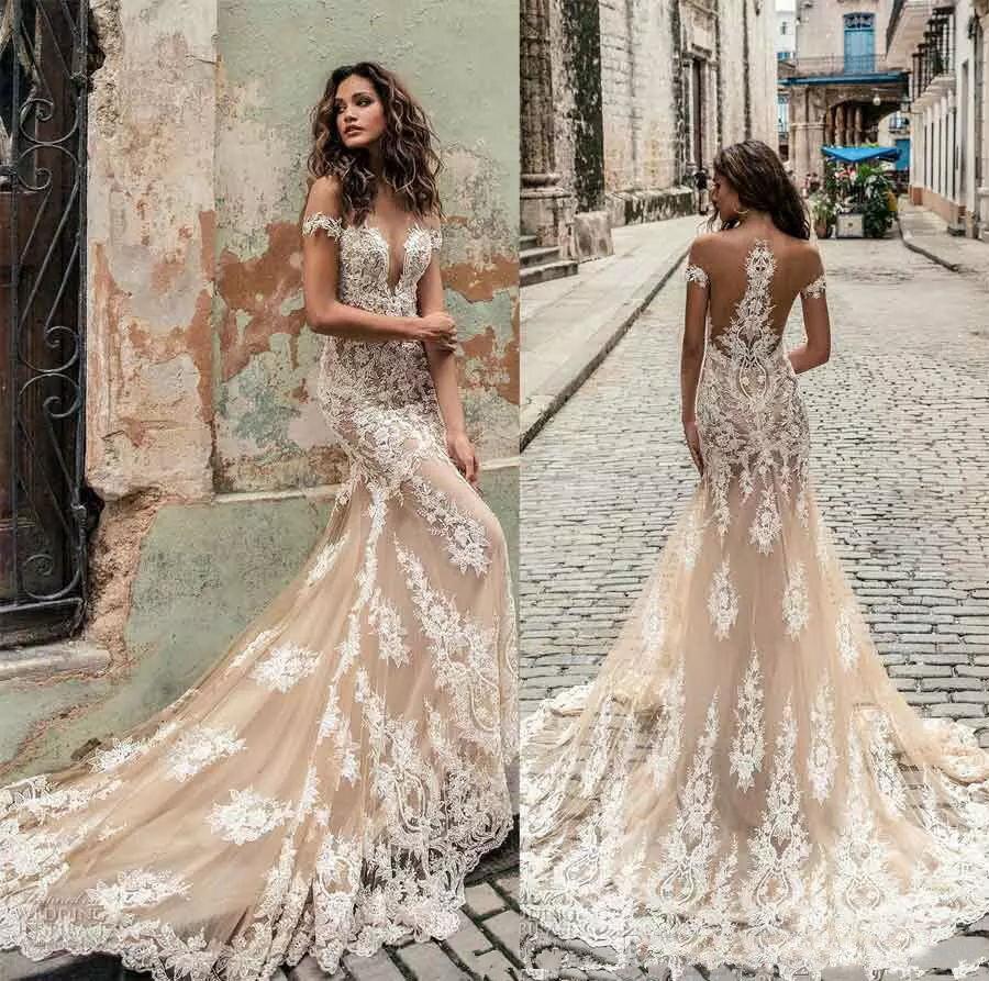 Robe de mariee Julie Vino Lace Champagne Mermaid Wedding Dresses 2019 Sexy Off Shoulder Deep Neck Court Train Bridal Gowns julie vino wedding dresses 2019