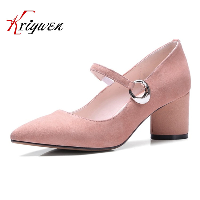 New 2017 Spring pointed toe party mary janes fashion shoes kid suede chunky heeled pumps for female lady dress med heels Shoes 2017 new fashion brand spring shoes large size crystal pointed toe kid suede thick heel women pumps party sweet office lady shoe