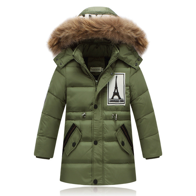 Fashion 2017 Winter Down Jackets For Boys Thick Warm Down Coats Children's Long Outwear Down Coat Big Boy Outerwear Long  Parka