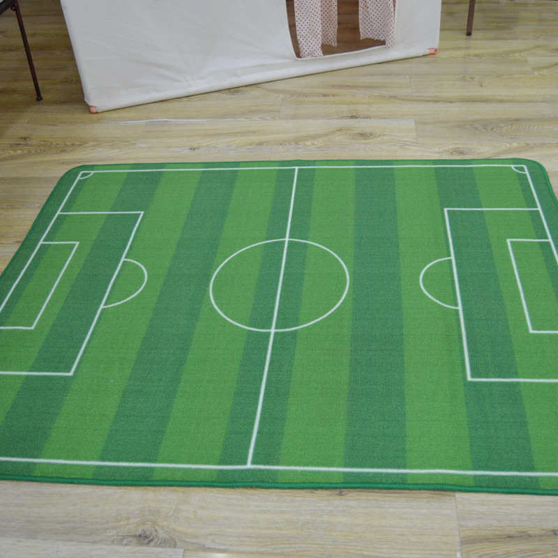 Elegant Unique Kids Carpet Bedroon Rug Cartoon Football Field Green Rug Kids Living  Room Carpet Play Carpet
