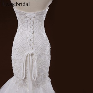 Image 5 - Mermaid Lace Appliques งานแต่งงานชุดยาวรถไฟ Beading เจ้าสาว Robe de mariee ชุดแต่งงาน vestido de noiva YY105