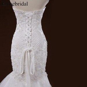 Image 5 - Mermaid Lace Appliques Wedding Dress Long Train Beading Bridal Gown robe de mariee Wedding Gown vestido de noiva YY105