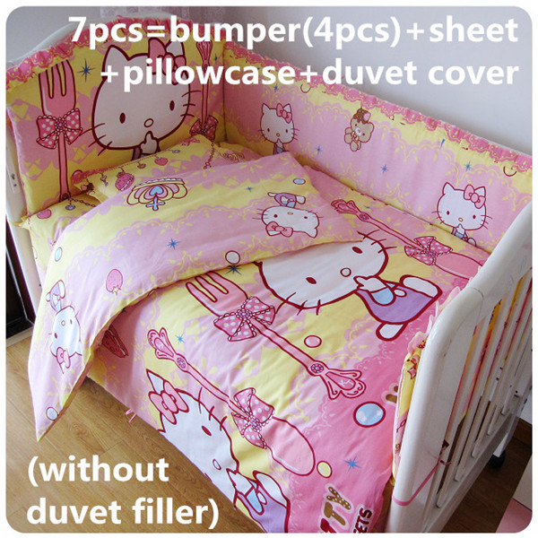 Promotion! 6/7PCS Cartoon Cot Bedding piece Set 100%Cotton crib set baby bedding set , 120*60/120*70cm discount 6 7pcs 100% cotton baby bedding set unpick and wash the crib piece set baby cot set 120 60 120 70cm