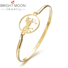 Bright Moon New Arrival Gold Silver Color Bangle Bracelet Stainless Steel Bangle Charm Bracelets Horse For Gift(China)