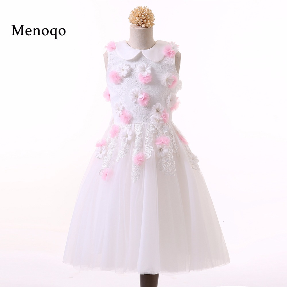 Menoqo 2019 Sweet   Flower     Girl     Dresses   for Wedding vestidos de primera comunion Pageant   Dress   Prom Party   Dress   Communion   dresses