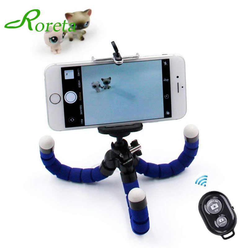 Roreta Fleksibel Spons Gurita Mini Tripod Nirkabel Bluetooth Remote Selfie Ponsel Kamera Mini Tripod untuk iPhone X 8 7 6 S 5