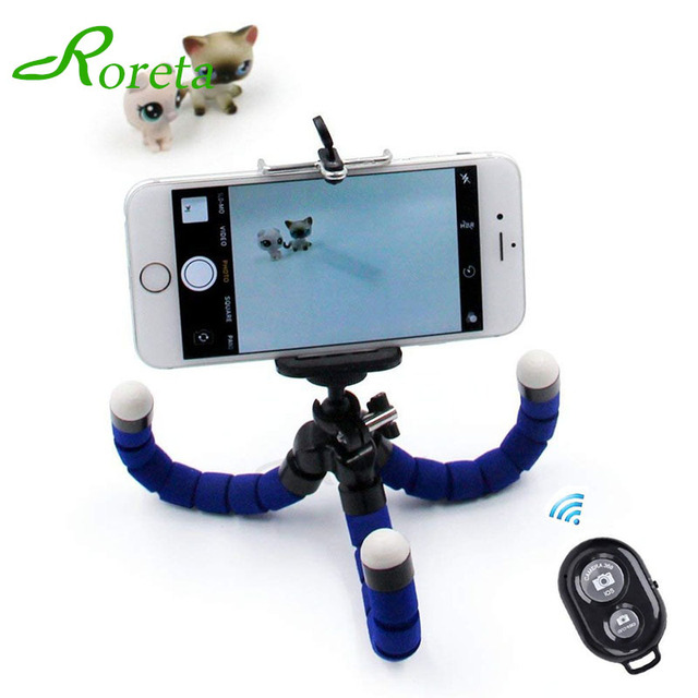 Roreta Flexible Sponge Octopus mini Tripod Wireless Bluetooth Remote Selfie Phone mini Camera Stand Tripod For iPhone X 8 7 6s 5