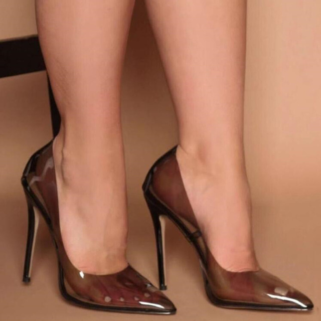 Tacones Mujer Dedo Mujeres Las Alto Bombas Pie rosado Del Tacón Nueva  Fiesta Zapatos Puntiagudo Transparente Sexy Moda ... ba1ff9b042df
