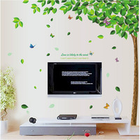 Saturday Monopoly Diy Home Decor Fresh Green Large Tree Wall Sticker Living Room Bedroom Tv