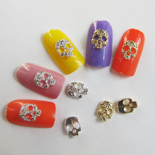 10pcs Gold Silver Alloy Skull Nail Art  2015 New Arrival Halloween Jewelry 8*6MM F19 Free Ship