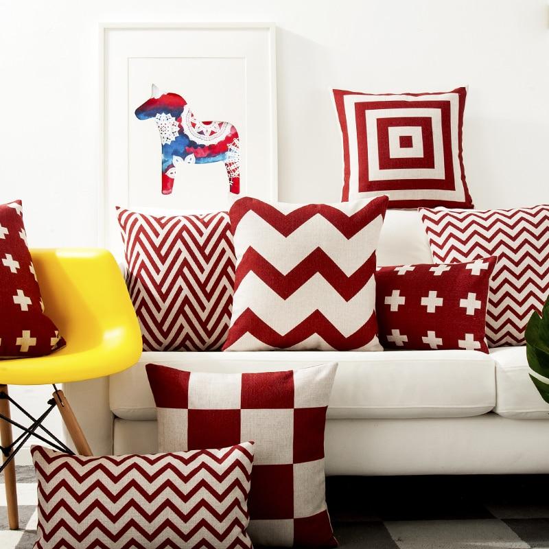 Red Geometric Lattice Pillow Cushion Cover Pillow Case Home Decorative Pillow Thick Linen Pillowcase Sofa Cushion