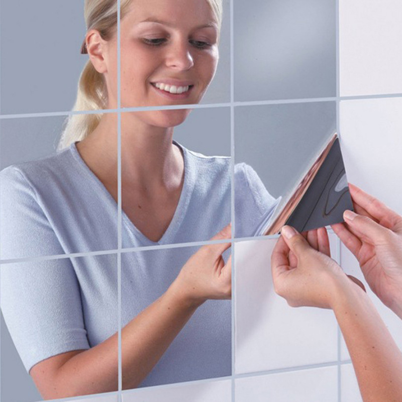 CUSHAWFAMILY 9 pcs/set 15X15cm reflection mirror square sticker bathroom sittingroom Creative home decoration