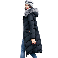 2017 hooded long outerwear for women winter jacket cotton padded female casaco feminina warm womens coats parkas(China)