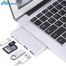 RSExplorer Aluminium USB C Hub with SD/TF Card Reader and 2 USB 3.0 Ports Type-C Charging Port for Macbook12-Inch MacBook Pro
