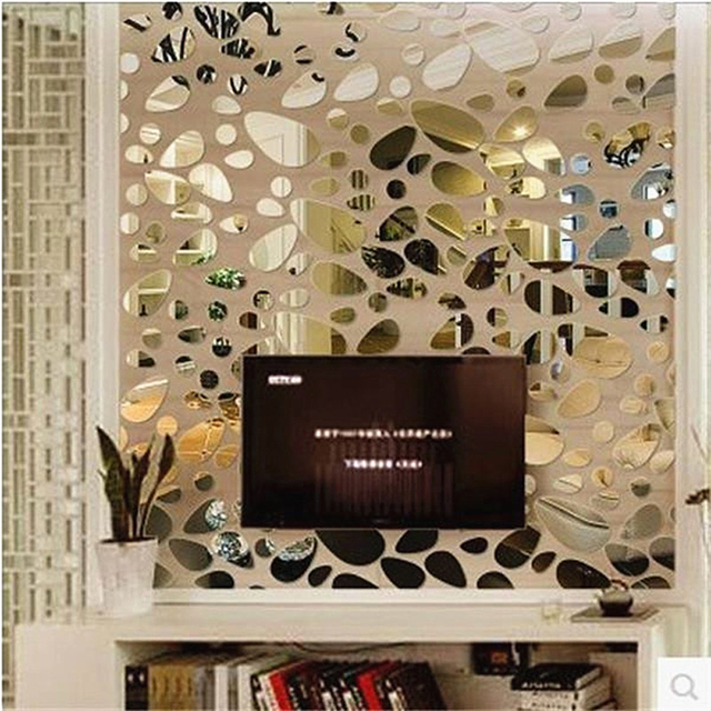 Fashion Oval Abstract Wall Decor Art Acrylic Sticker Diy Mirror Stickers Mural Living Room