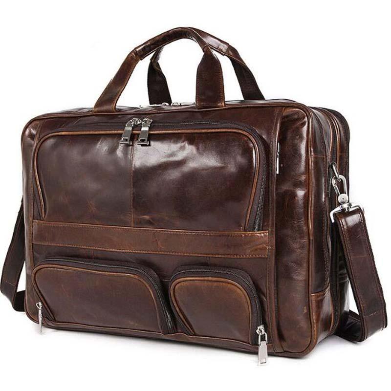 Men Leather Briefcase 100 Natural Cowhide 17 Laptop Multi Function Business Handbags Shoulder Bags Portable Travel