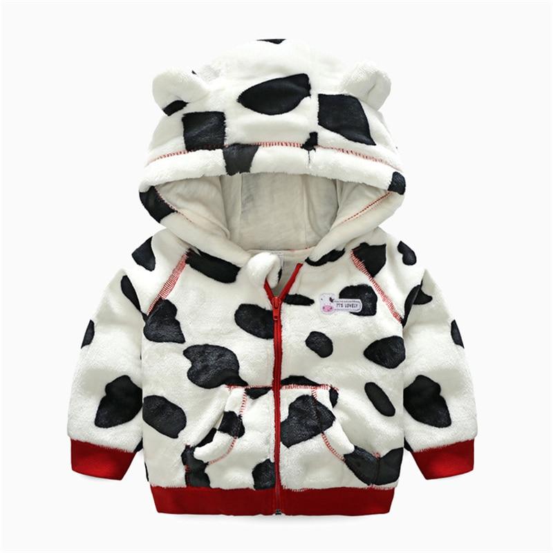 Newborn Baby Girls Boys Cartoon Cow Warm Outfits Outwear Velvet Hooded Tops Set
